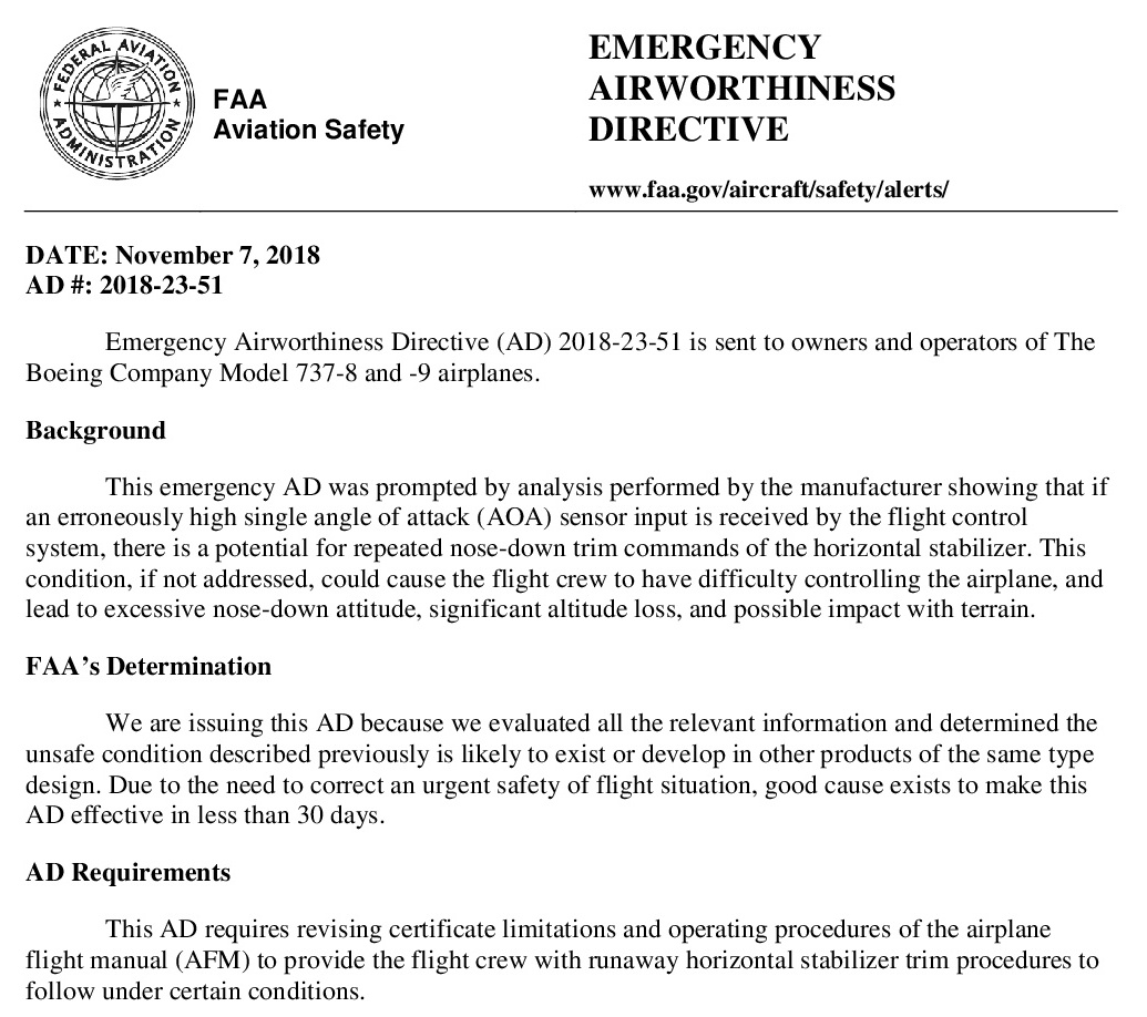 FAA issued an Emergency Airworthiness Directive for Boeing
