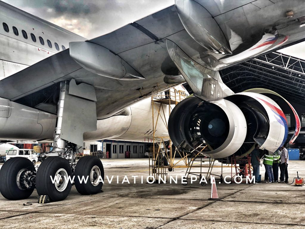 Nepal Airlines Airbus 330 '9N-ALY' right engine under inspection.