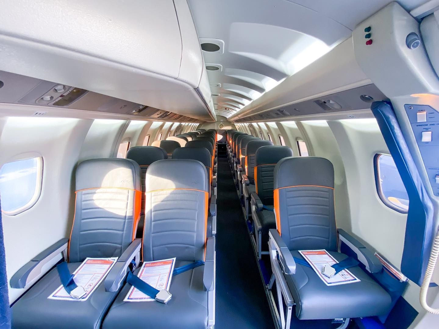 Seat configuration of SAAB planes 340 from Rex Airlines saab airplanes